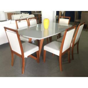 Sala de Jantar com Mesa e Seis Cadeiras Completa 38